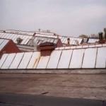 Sedlové světlíky - stav před demontáží, areál Frigera Kolín