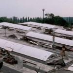 Nové obloukové světlíky - stav před dokončením, areál Frigera Kolín